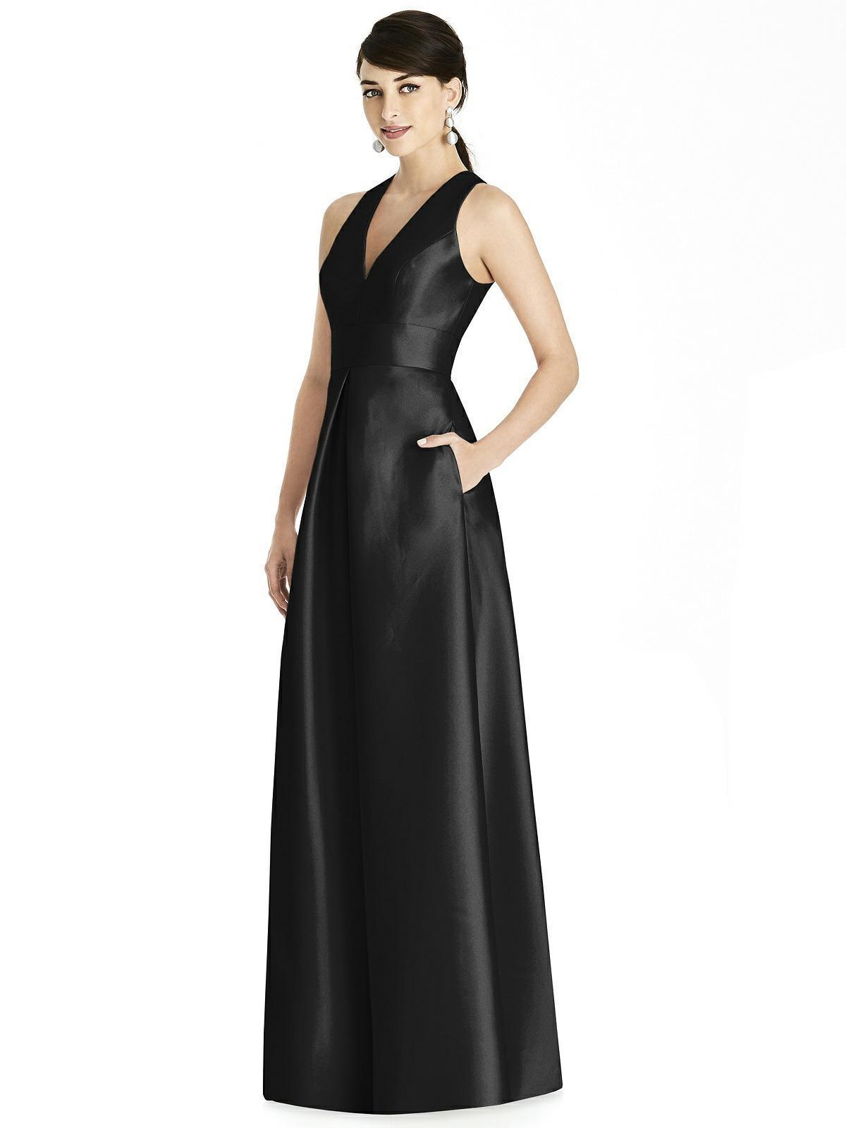 Alfred Sung - D747 Sleeveless Satin Twill A Line Dress