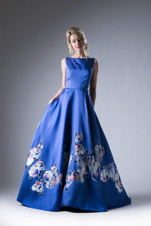 Cinderella Divine - CA303 Satin Floral Sleeveless Ballgown