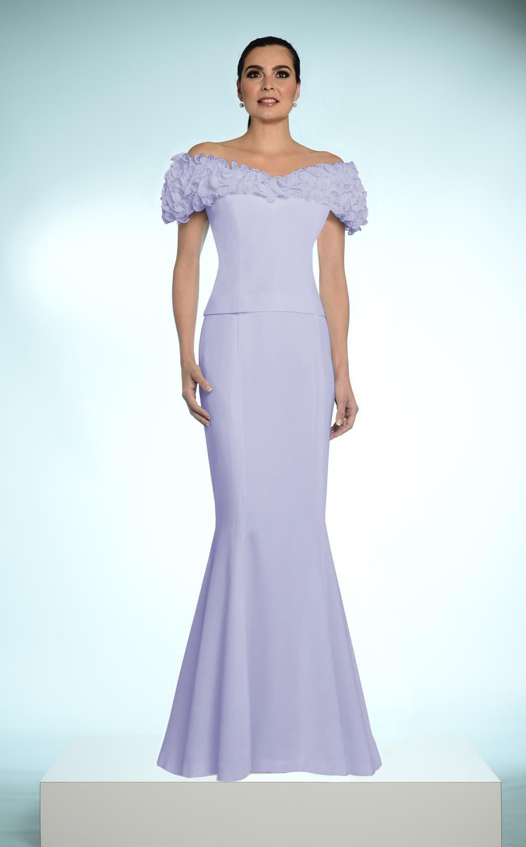 Daymor Couture - 2003 Rosette Ruffles Off Shoulder Evening Dress