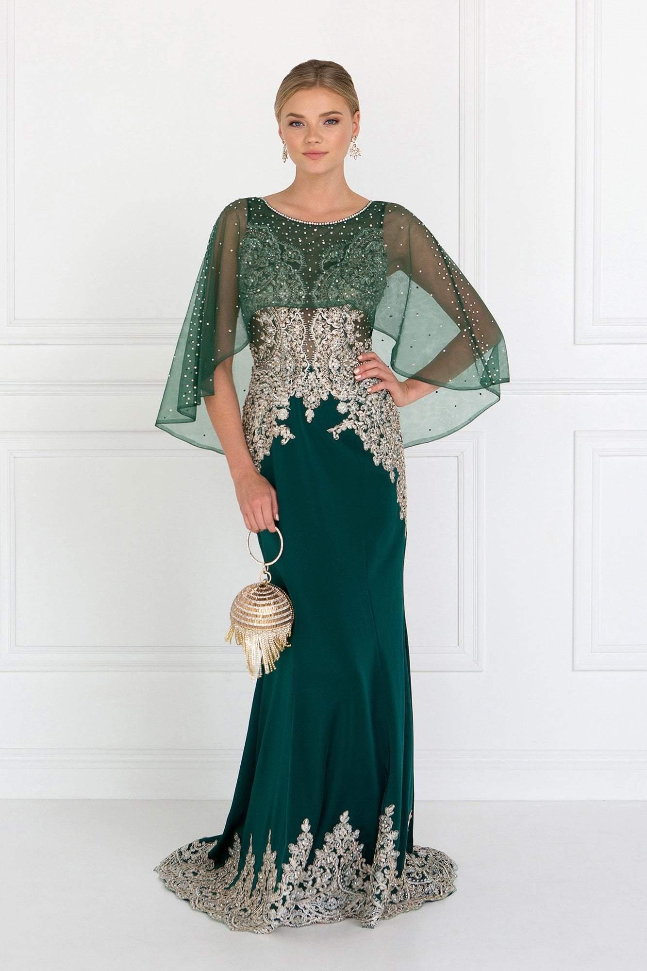 Elizabeth K - GL1595 Embroidered Bateau Jersey Trumpet Dress