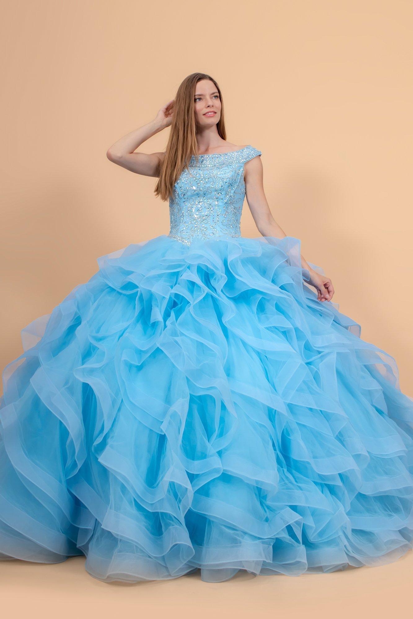 Elizabeth K - GL1600 Jewel Embellished Bodice Tulle Ballgown