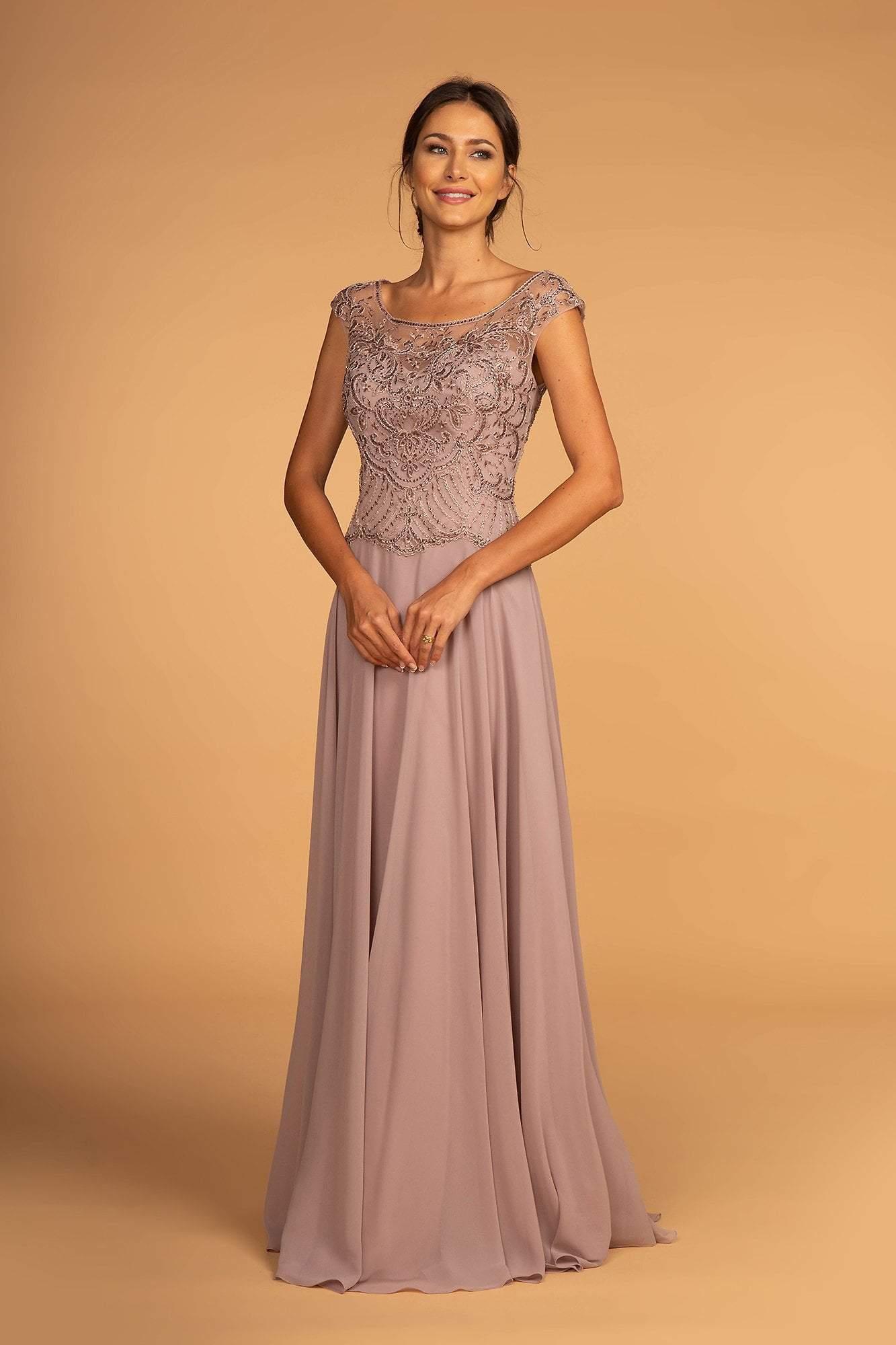 Elizabeth K - GL2523 Embellished Illusion Scoop Chiffon A-line Dress