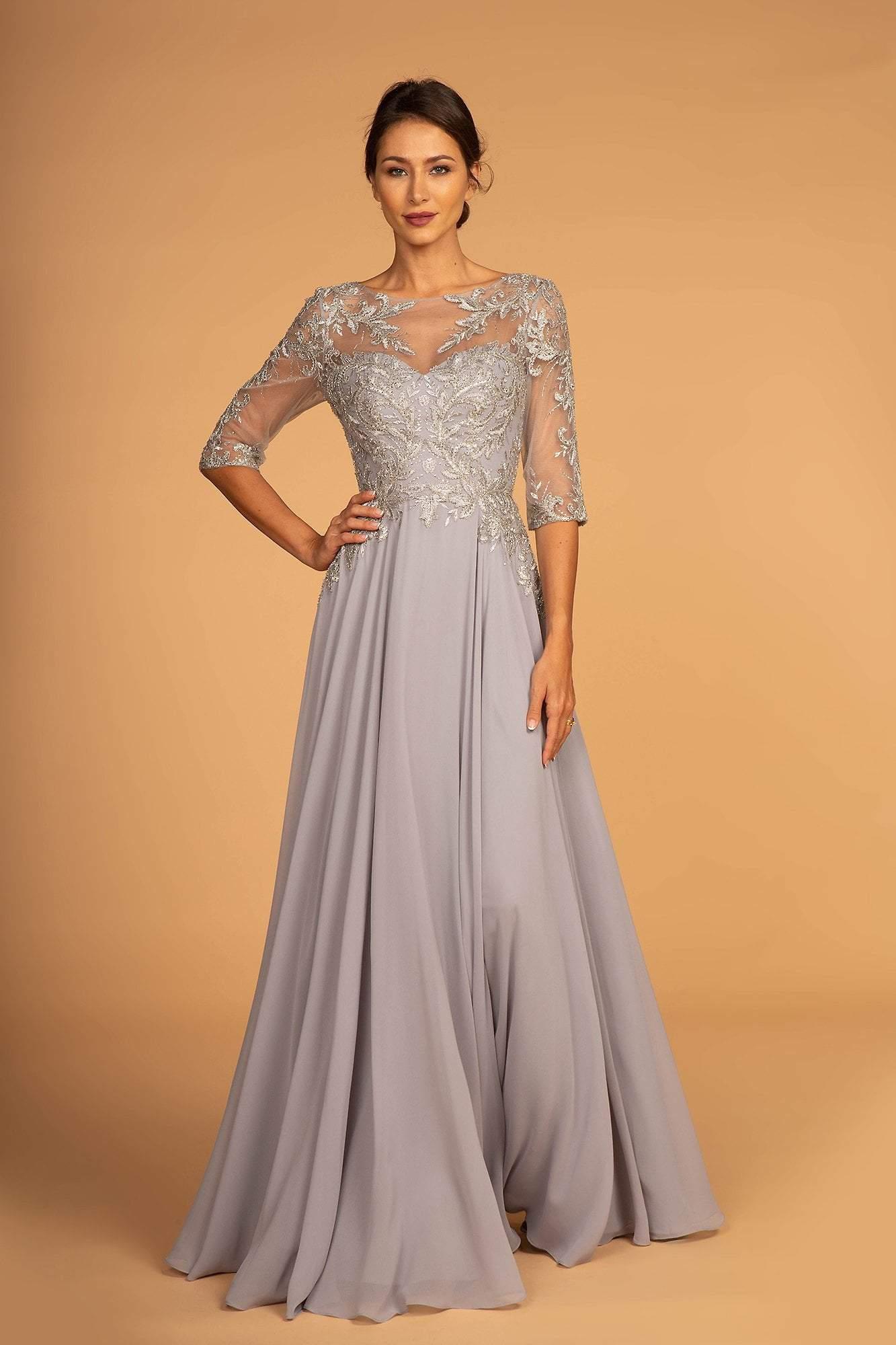 Elizabeth K - GL2524 Embroidered Quarter Length Sleeve Chiffon Dress