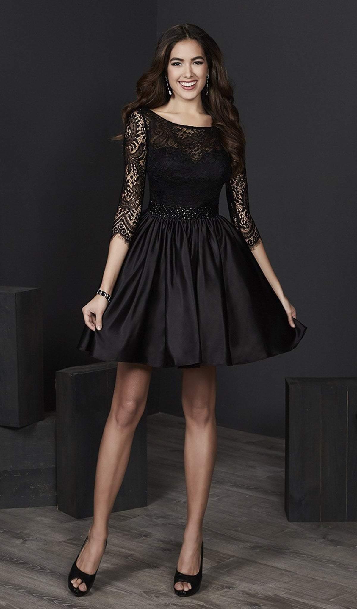 Tiffany Homecoming - 27202 Illusion Quarter Sleeve Lace A-Line Dress