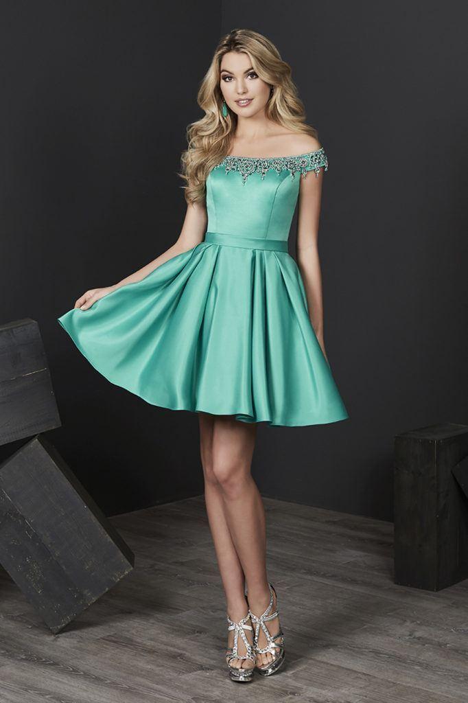 Tiffany Homecoming - 27205 Beaded Off-Shoulder Satin A-line Dress