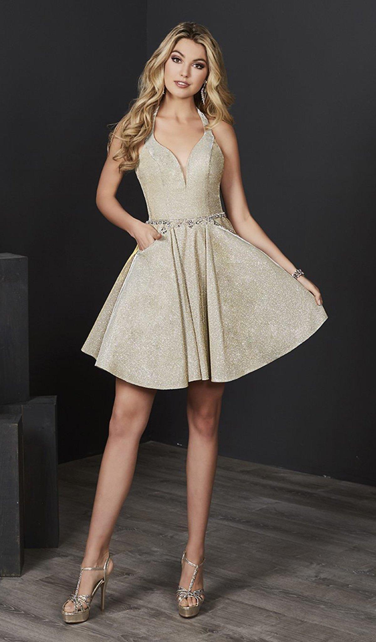 Tiffany Homecoming - 27206 Halter V-neck Sparkle Satin A-line Dress