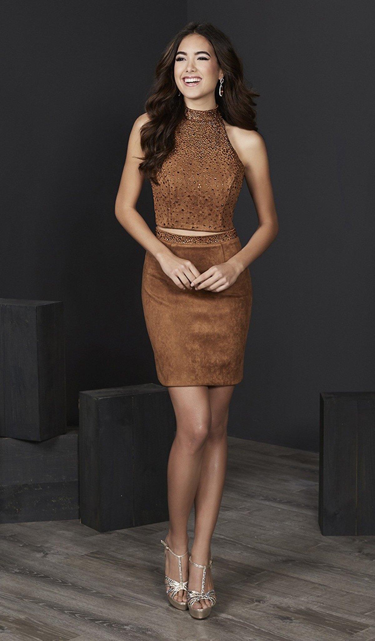 Tiffany Homecoming - 27213 Two Piece Embellished Halter Sheath Dress