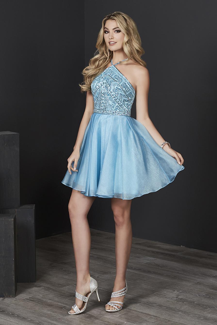 Tiffany Homecoming - 27214 Halter Strap Jeweled Organza A-Line Dress