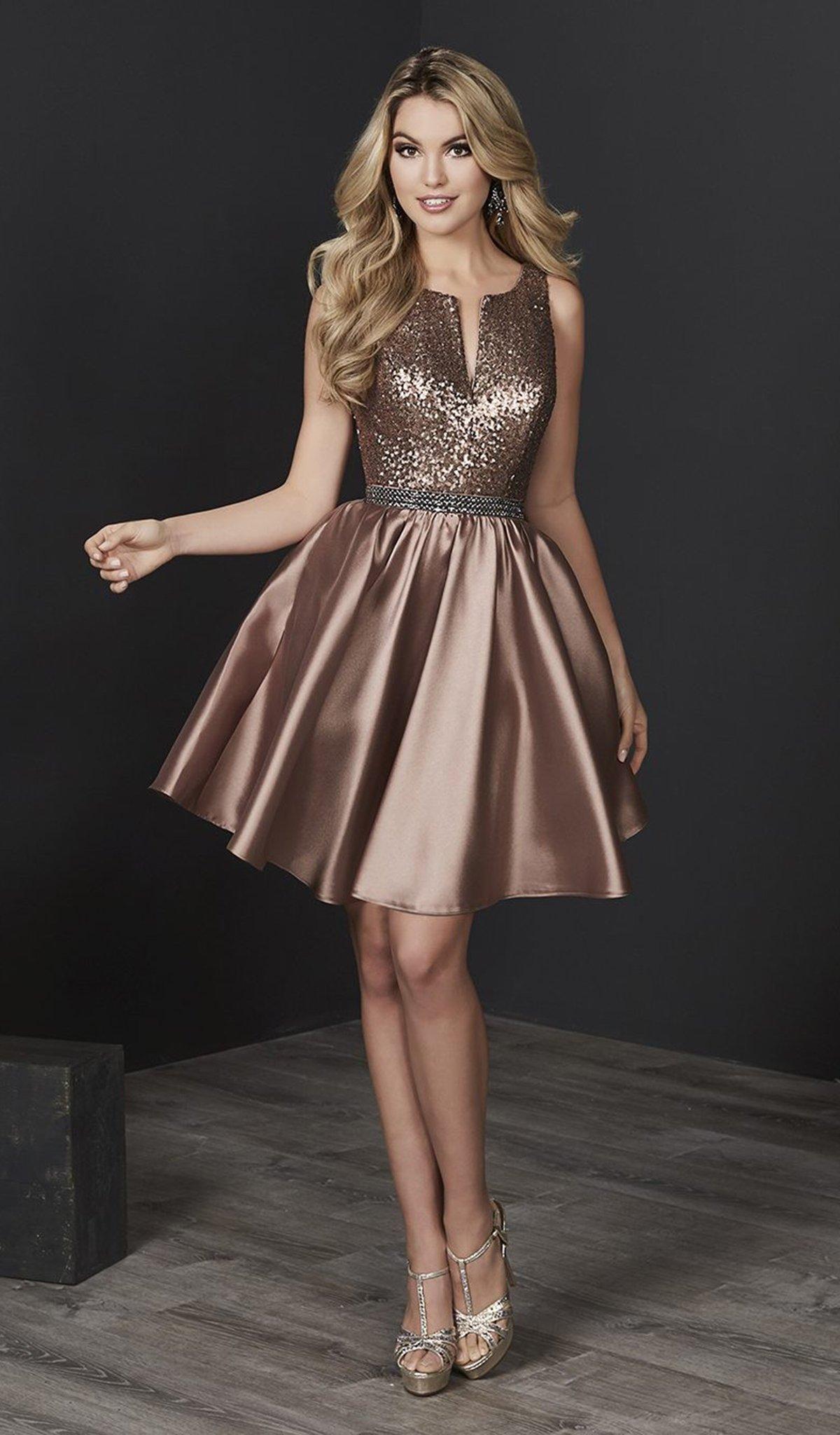 Tiffany Homecoming - 27223 Sequined V-neck Mikado A-line Dress