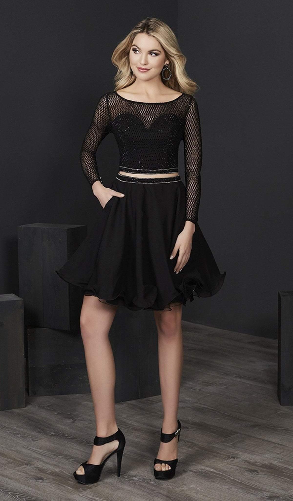 Tiffany Homecoming - 27232 Long Sleeve Sheer Lattice Two-Piece Dress