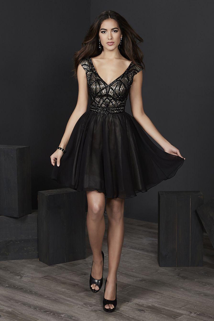 Tiffany Homecoming - 27240 Cap Sleeve Beaded Bodice Chiffon Dress
