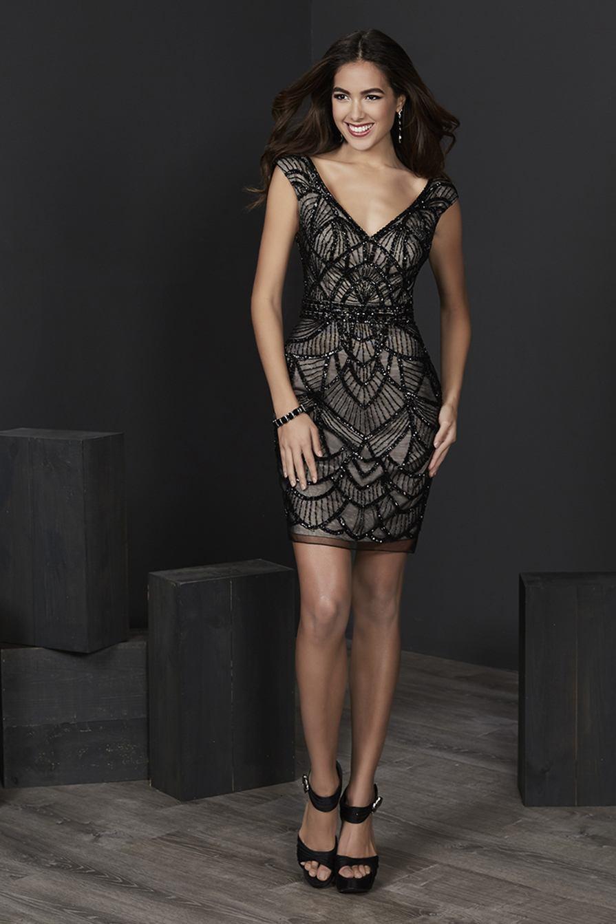 Tiffany Homecoming - 27242 Cap Sleeve Scallop-Beaded Cocktail Dress