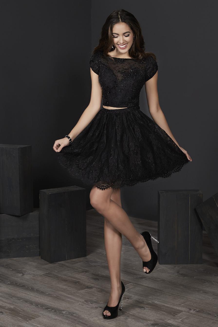 Tiffany Homecoming - 27245 Tulip Cap Sleeve Diamond Cutout Lace Dress