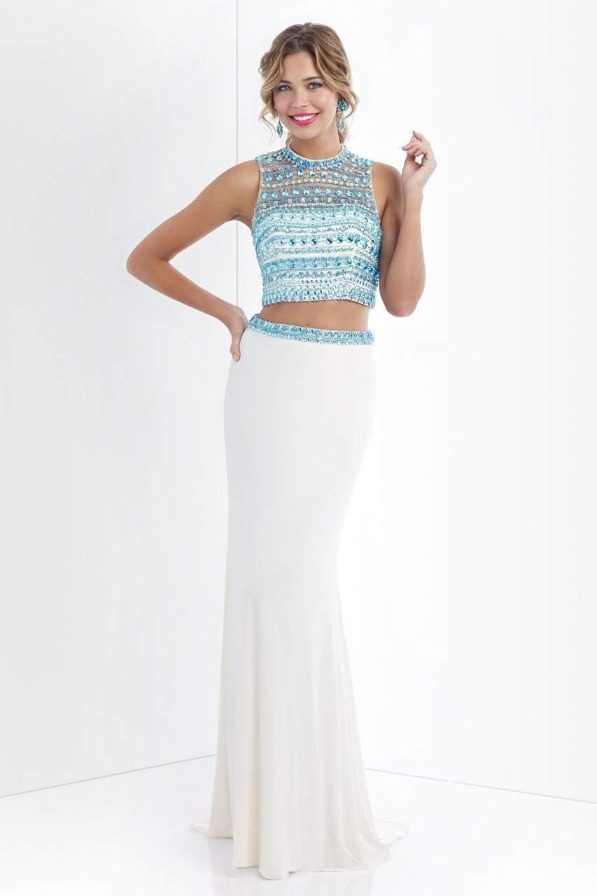 Blush - 11055 Crystal Encrusted Cropped Top Sheath Dress
