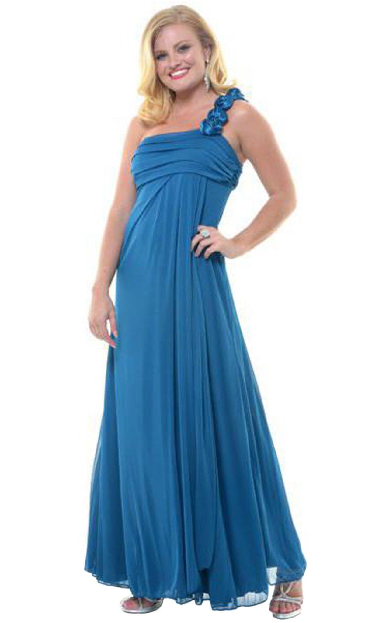 Eureka Fashion - 1701 Rosette Strap One Shoulder Empire Waist Gown
