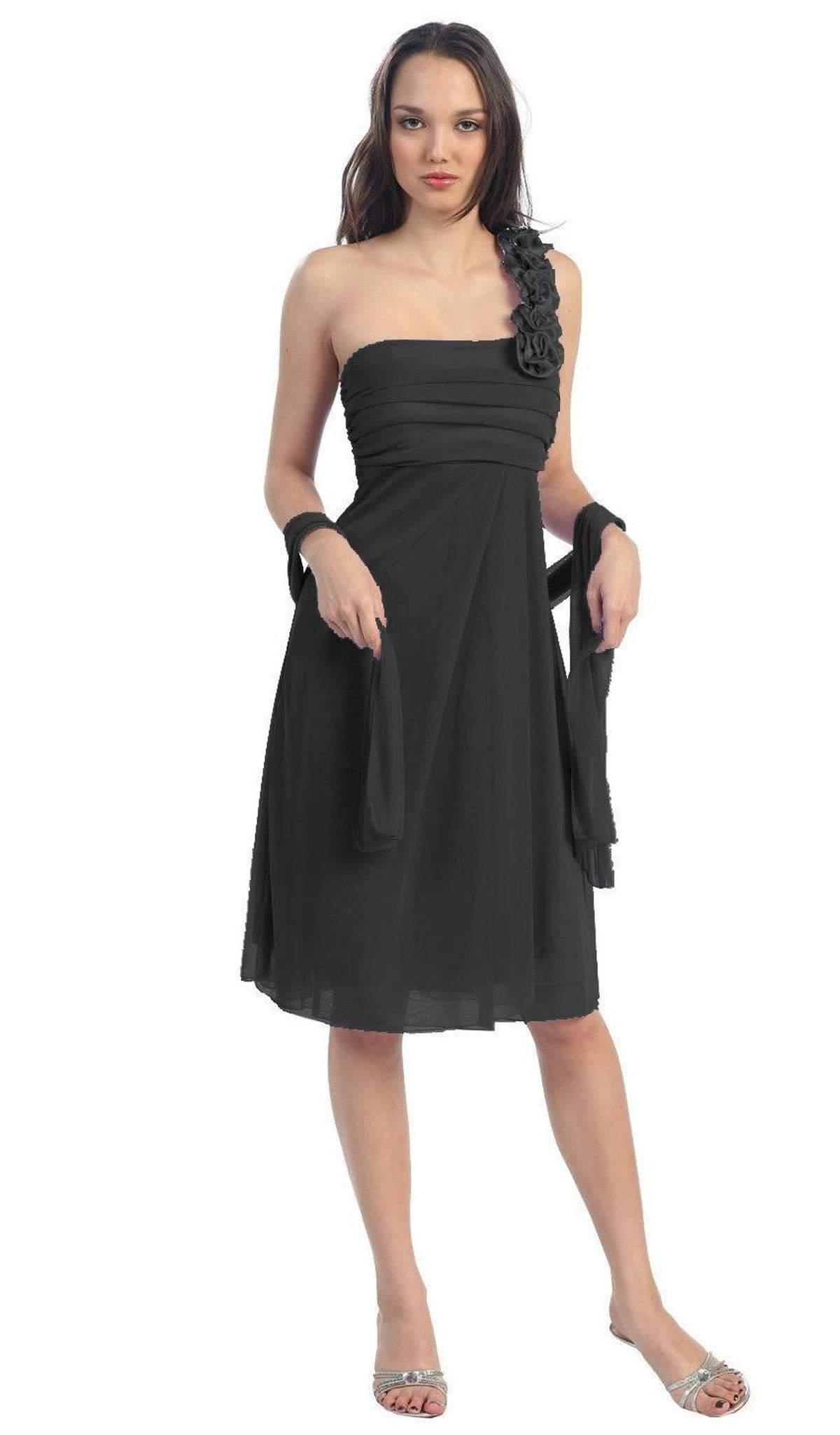 Eureka Fashion - 1801 Rosette Strap Empire Waist Cocktail Dress