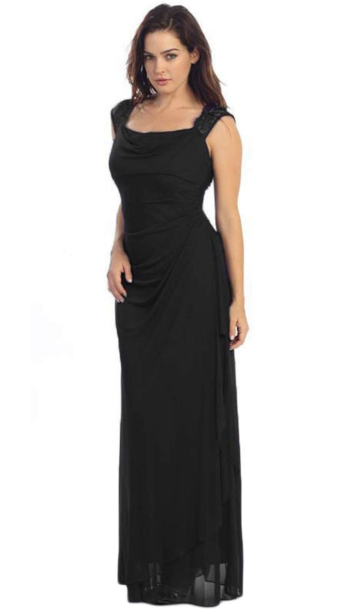 Eureka Fashion - 1927 Lace Cap Sleeve Draped Chiffon Gown