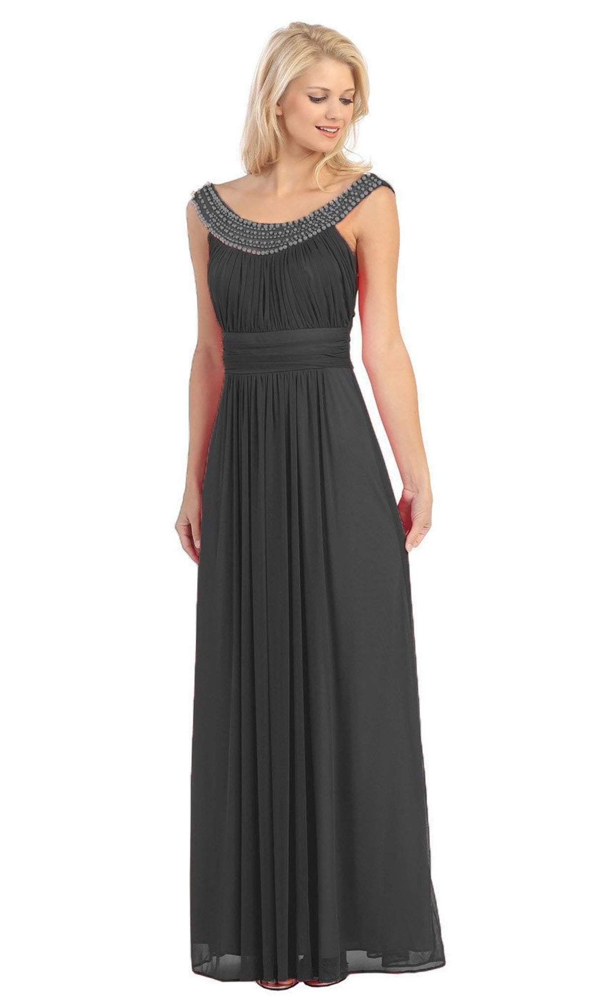 Eureka Fashion - 2027 Pearl Embroidered Neckline Chiffon A-Line Gown