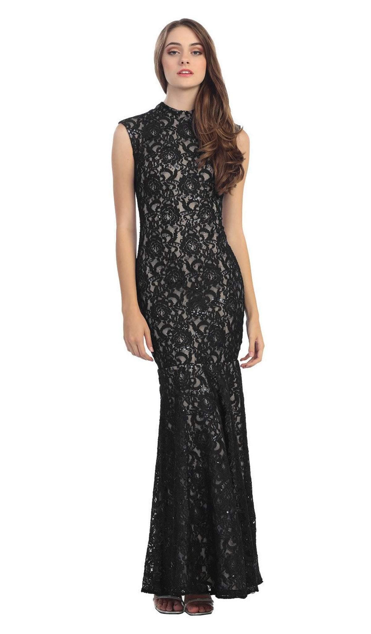 Eureka Fashion - 2061 Allover Lace High Neckline Mermaid Dress