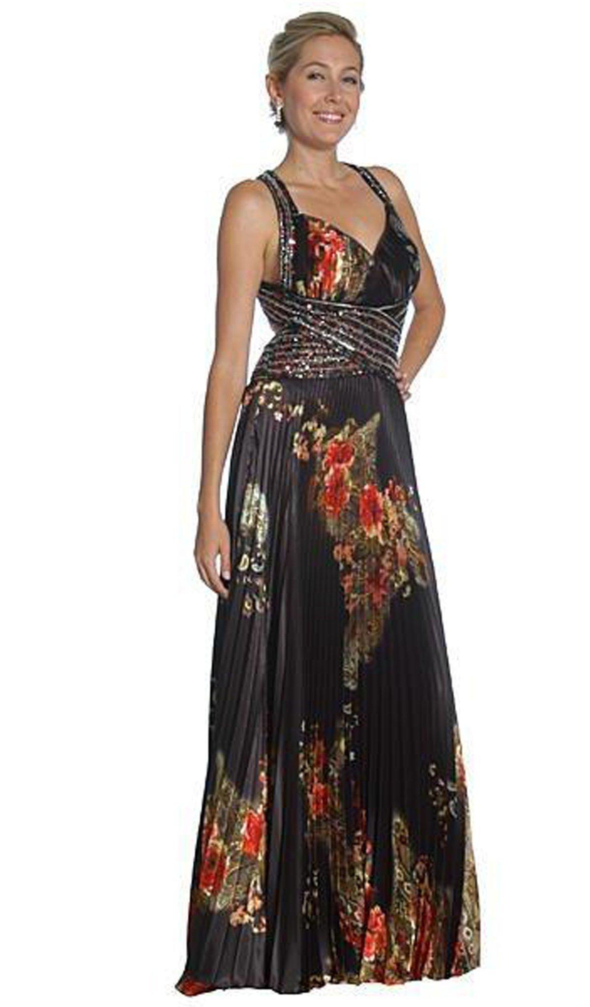 Eureka Fashion - 2117 V-neck Print Charmeuse A-line Dress