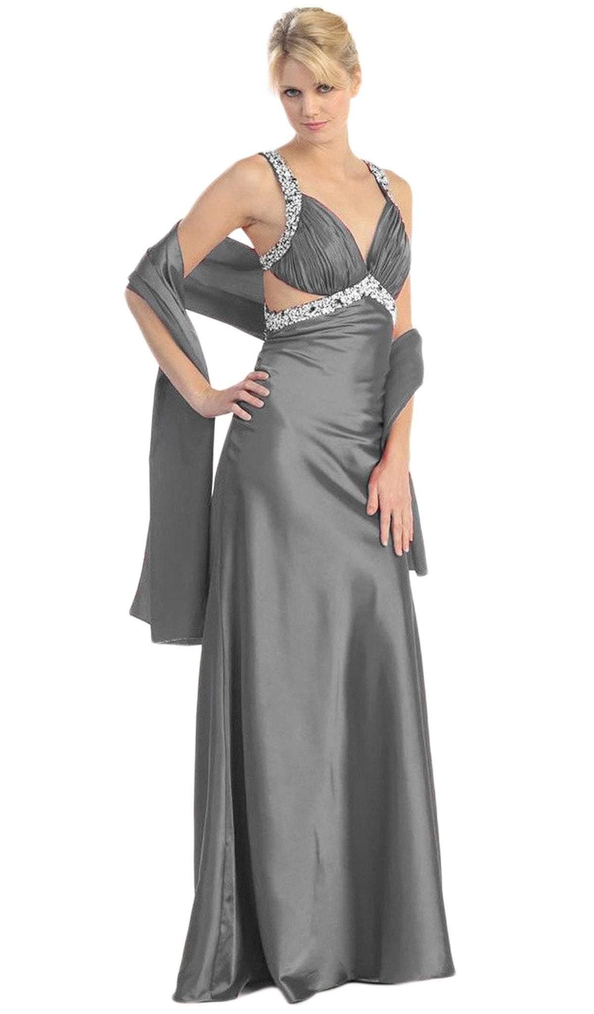Eureka Fashion - 2120 Jeweled Ruche-Ornate Cutout Long Gown