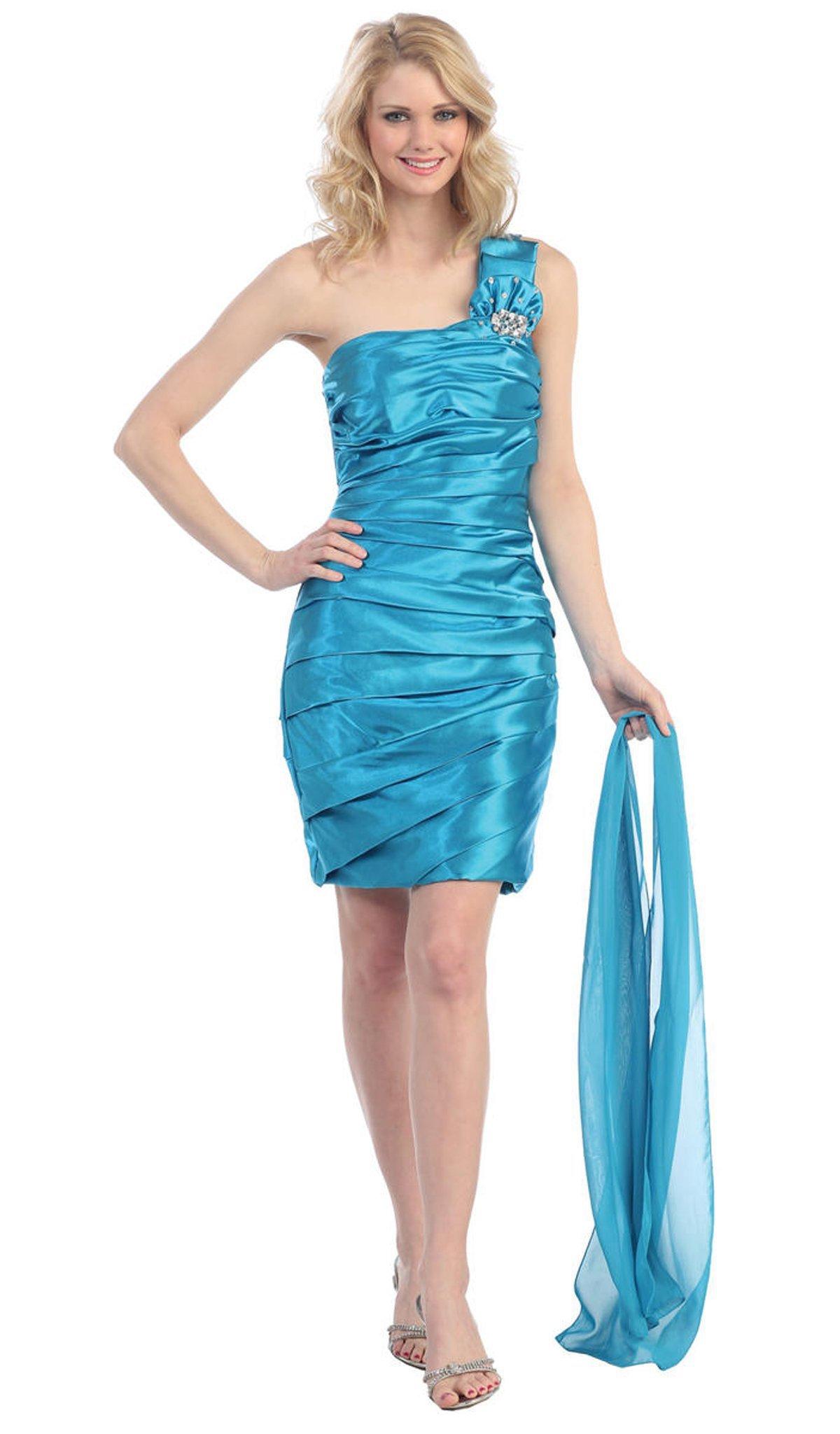 Eureka Fashion - 2280 One Shoulder Pleated Charmeuse Cocktail Dress
