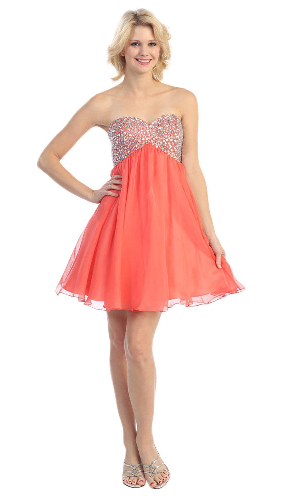 Eureka Fashion - 2301 Beaded Sweetheart Chiffon A-line Dress