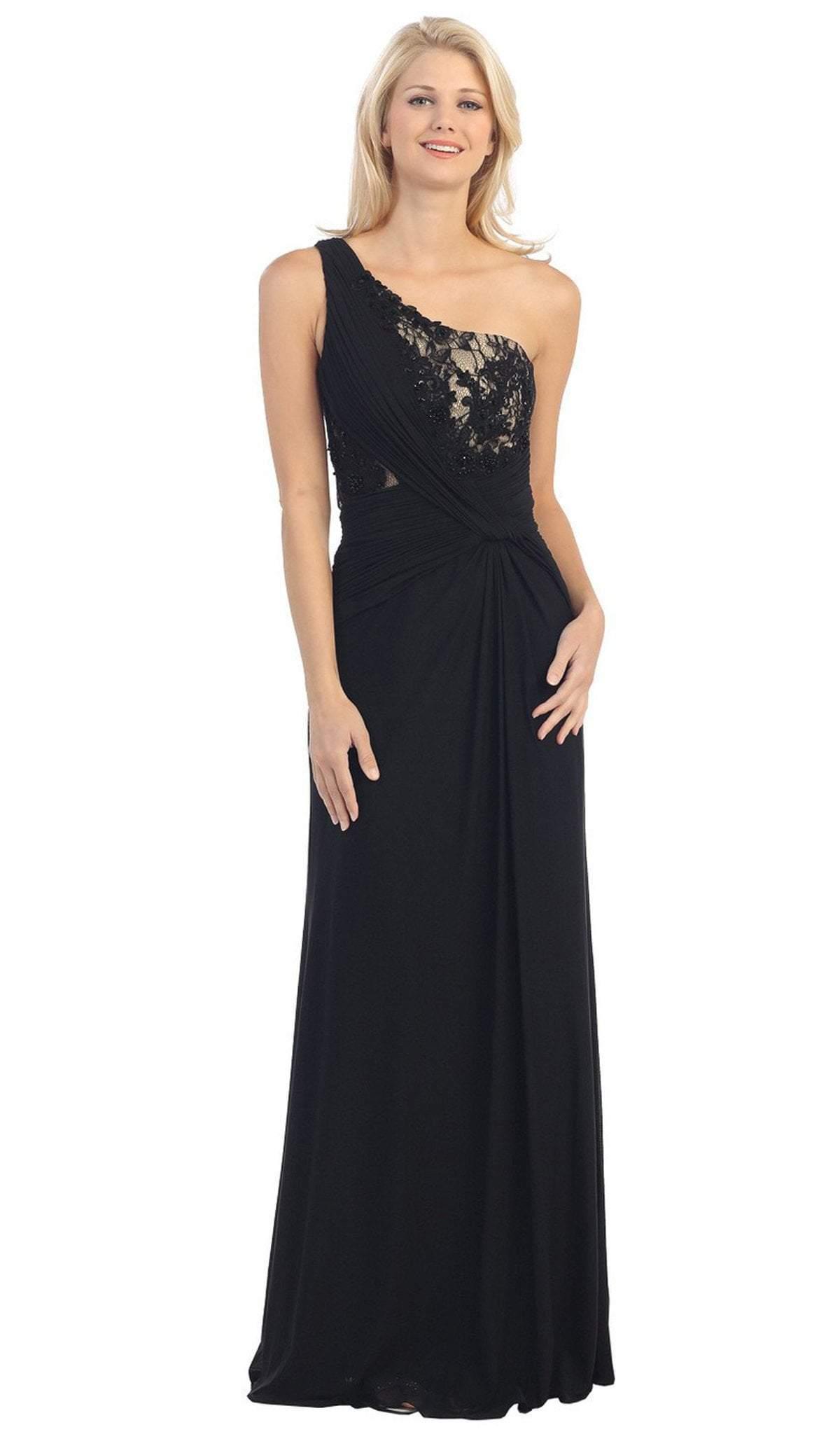 Eureka Fashion - 2370 Lace Asymmetric Long Sheath Dress