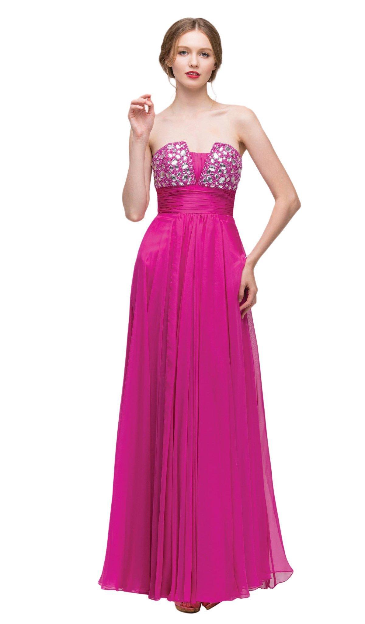 Eureka Fashion - 2414 Strapless Beaded Pleated Chiffon A-line Dress