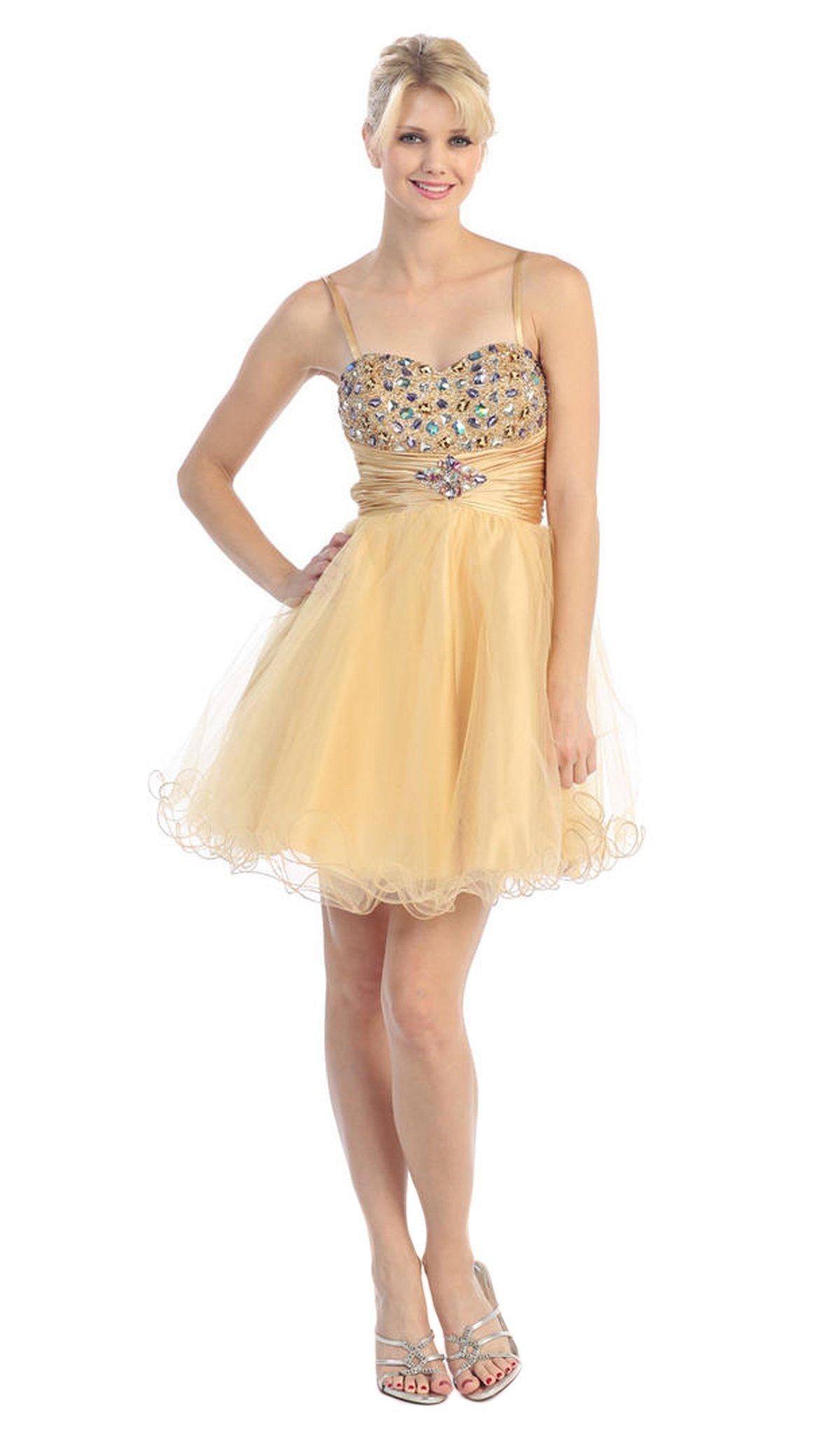 Eureka Fashion - 2420 Beaded Sweetheart Charmeuse/Mesh A-line Dress