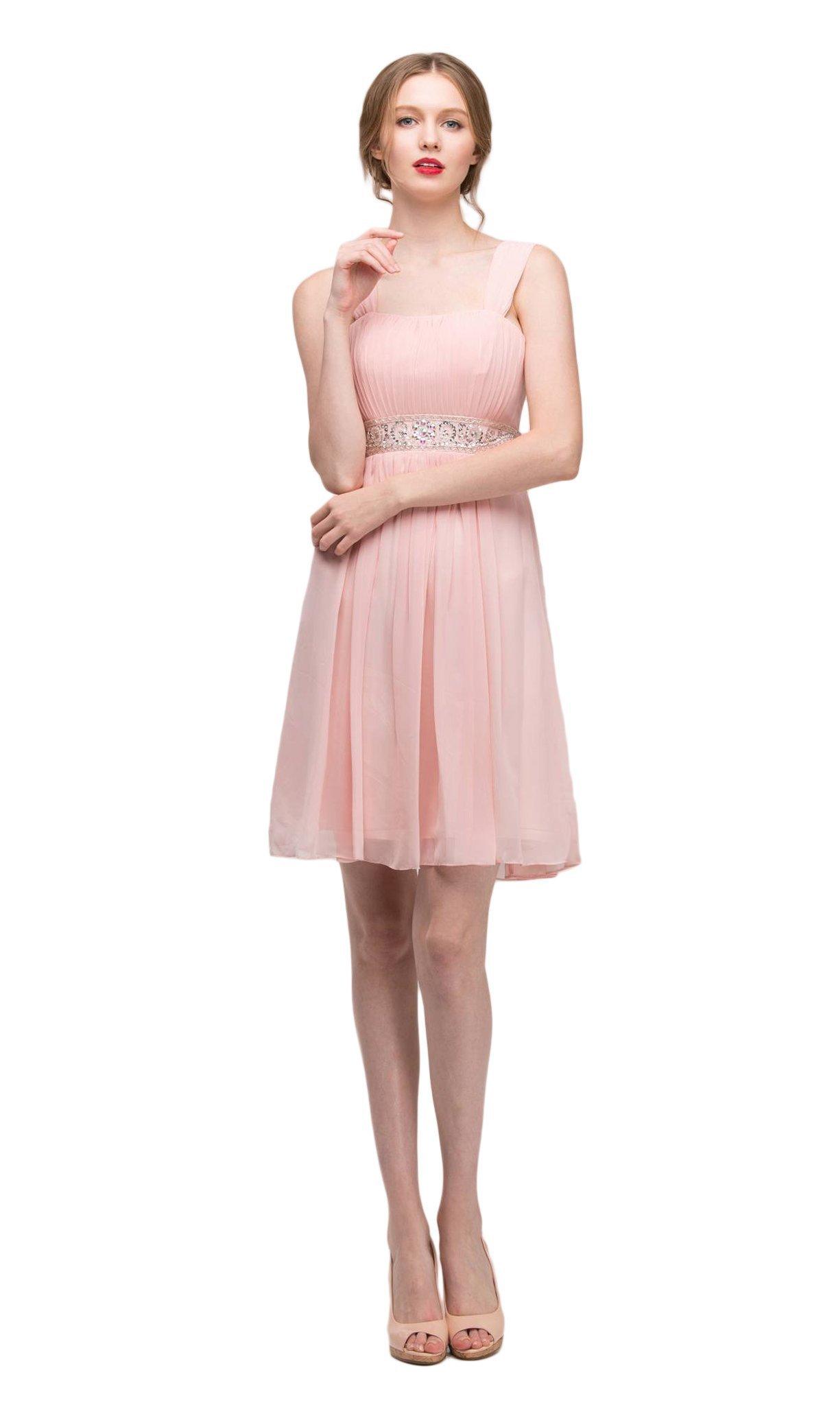 Eureka Fashion - 2450 Embellished Chiffon Knee Length A-line Dress