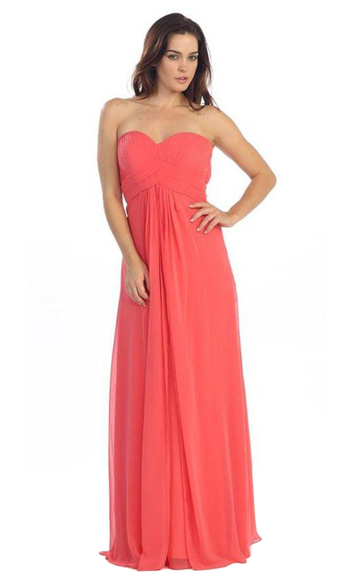 Eureka Fashion - 2600-1 Pleated Strapless Sweetheart Chiffon Gown