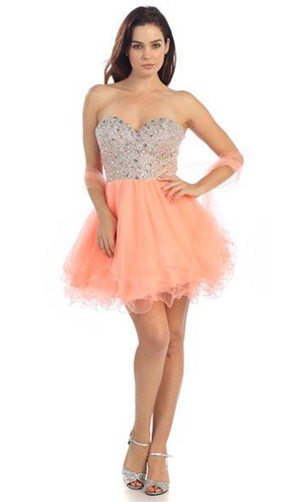 Eureka Fashion - 2602 Strapless Beaded Sweetheart A-line Dress