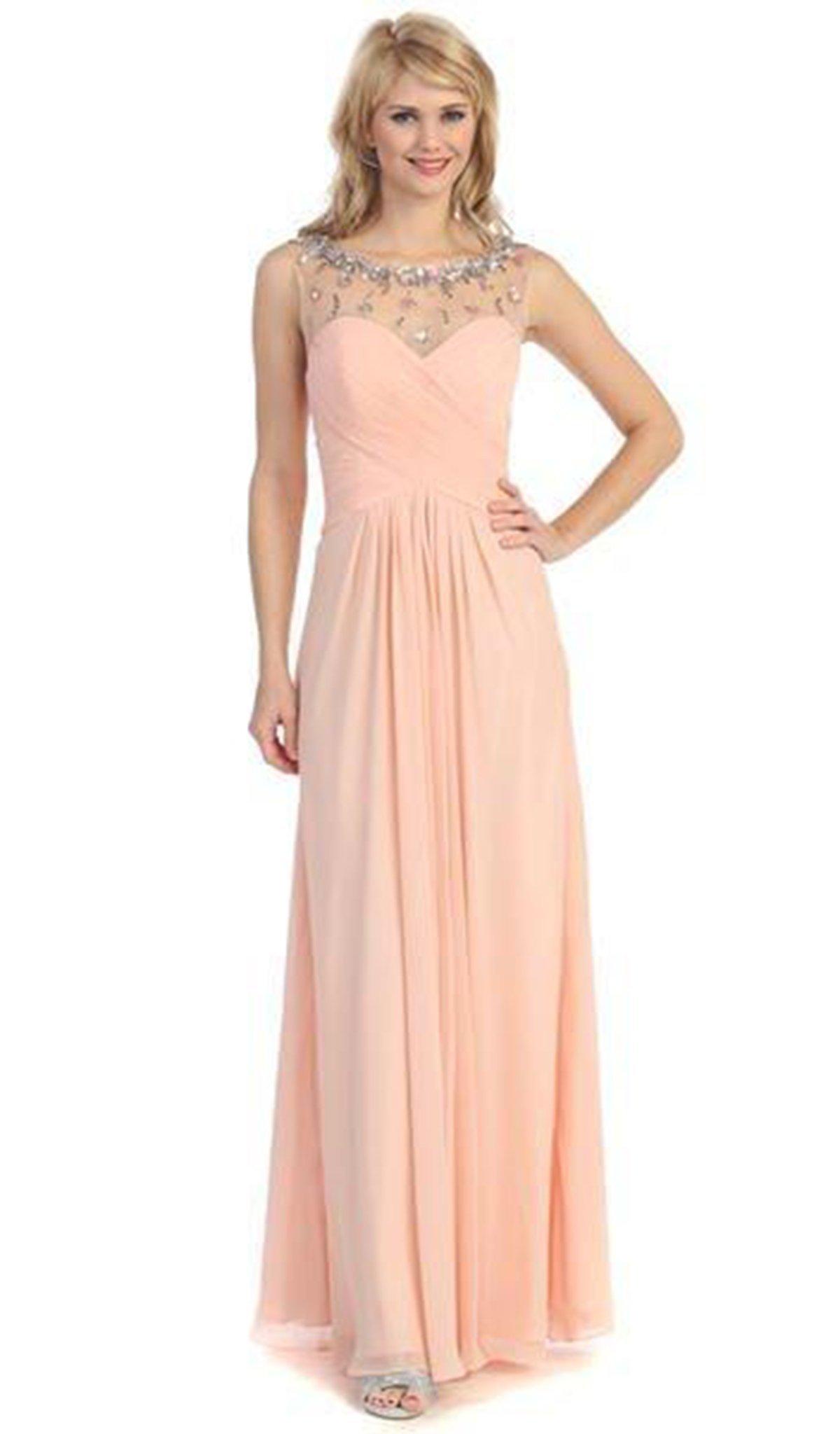 Eureka Fashion - 2666 Sleeveless Beaded Illusion Bateau Chiffon Dress