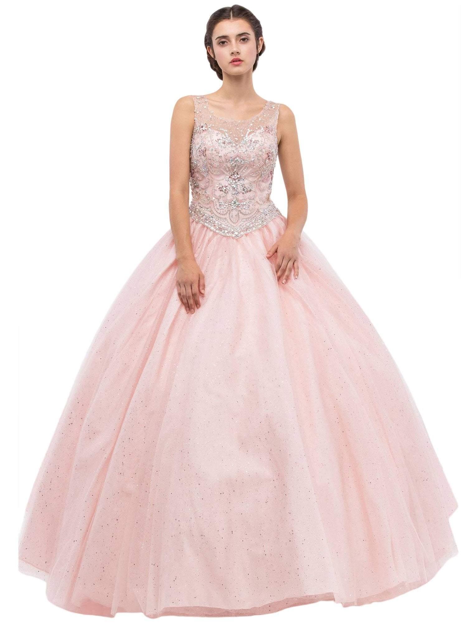 Eureka Fashion - 3077 Sleeveless Beaded Illusion Scoop Ballgown