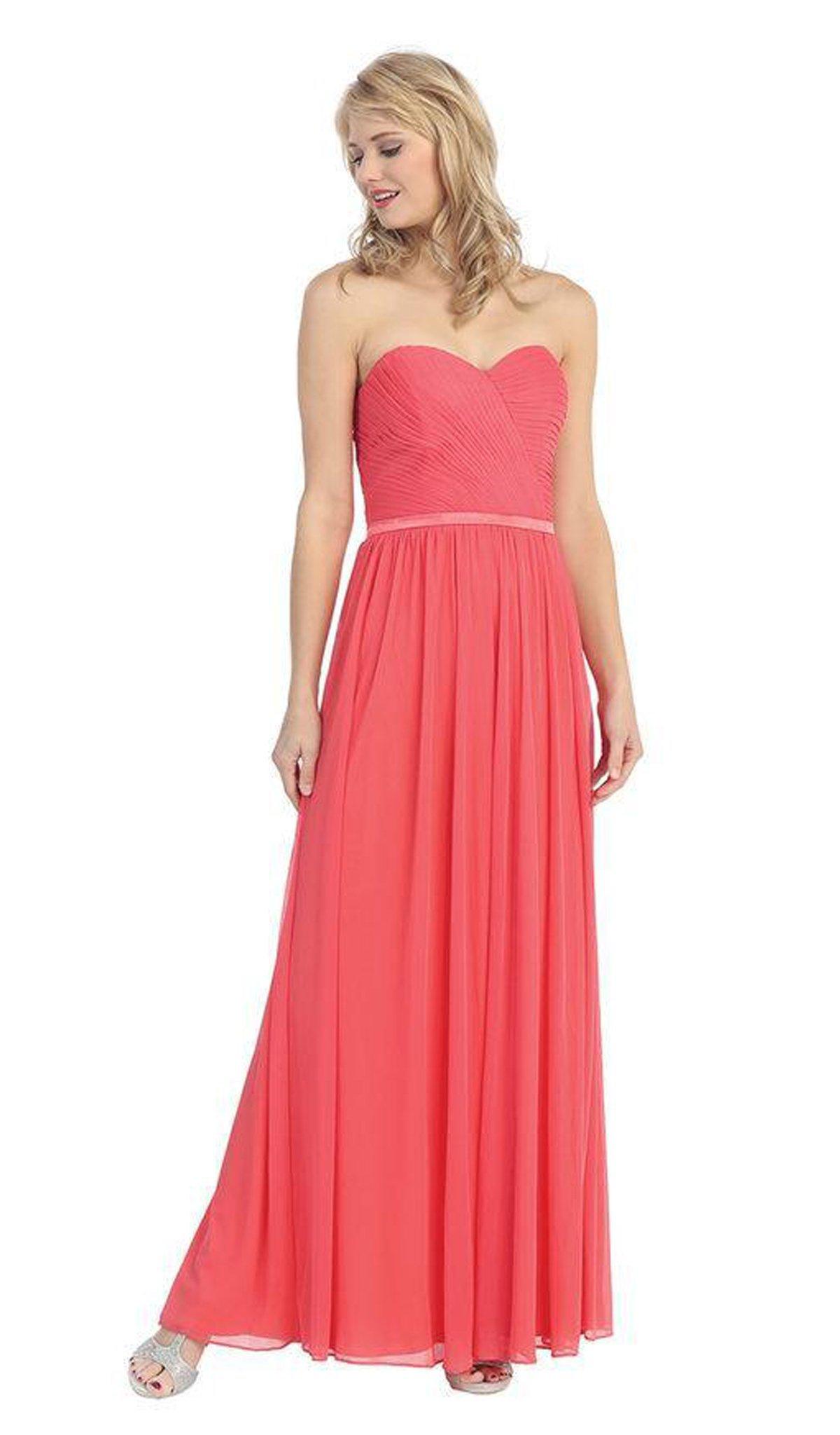 Eureka Fashion - 3100 Pleated Sweetheart Chiffon Matte Jersey Dress