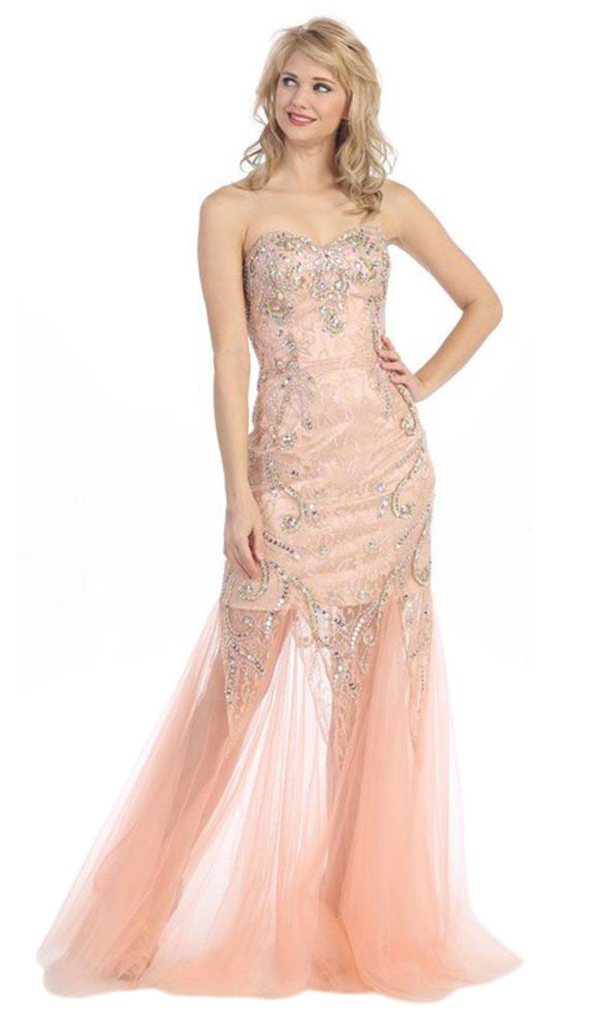 Eureka Fashion - 3152 Beaded Lace Sweetheart Mesh Trumpet Dress