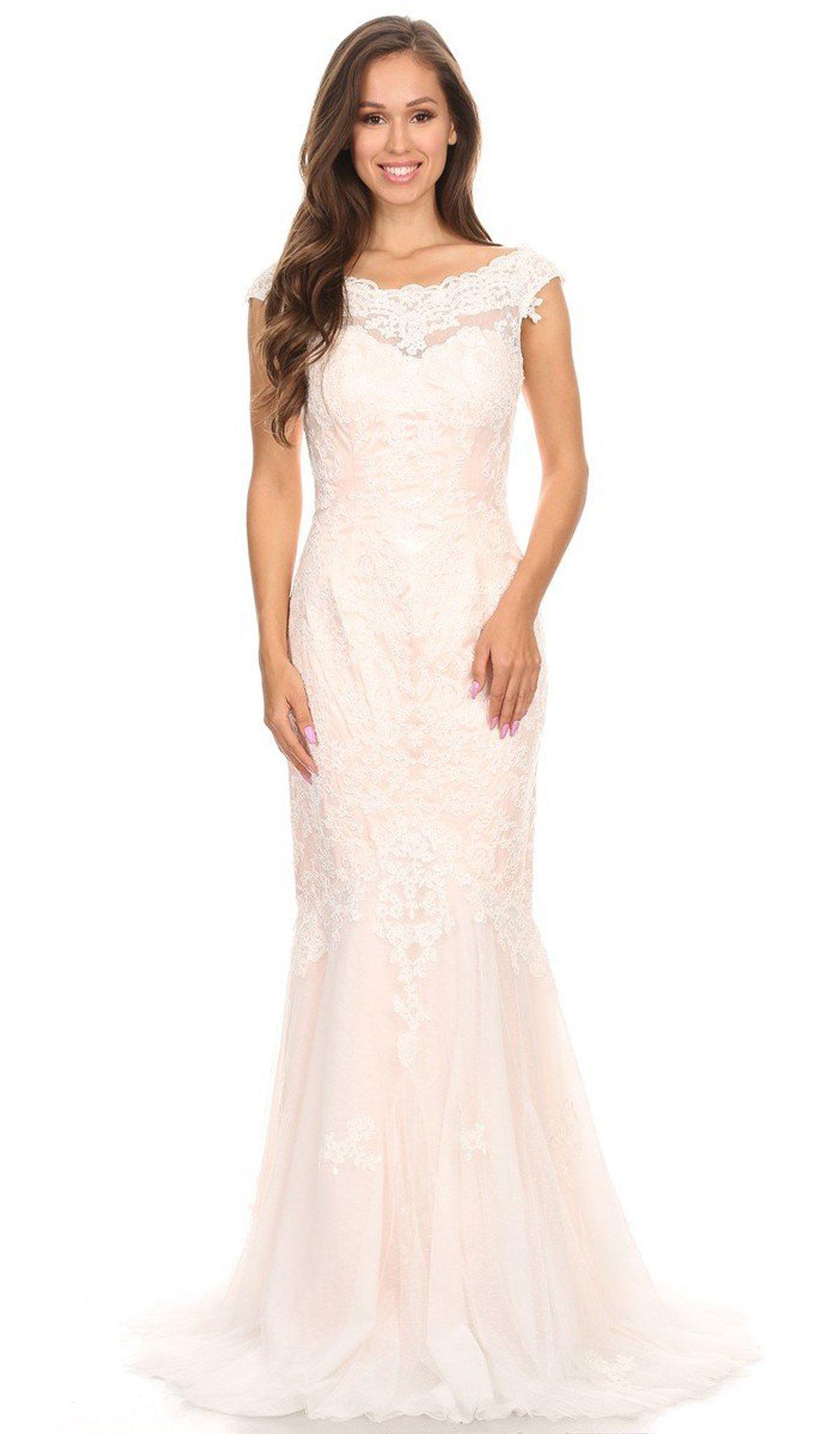Eureka Fashion - 3510 Lace Bateau Long Mermaid Dress