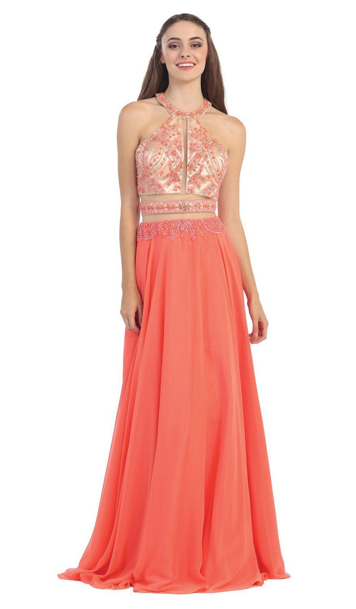 Eureka Fashion - 3888 Sleeveless Beaded Halter Chiffon A-line Dress