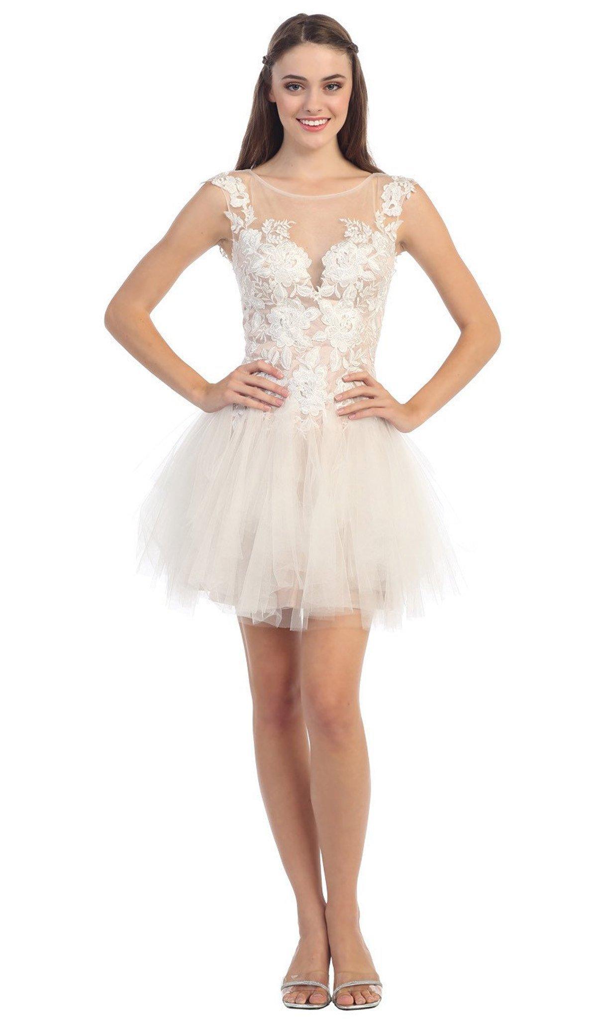 Eureka Fashion - 3911 Lace Embroidered Mesh A-line Dress