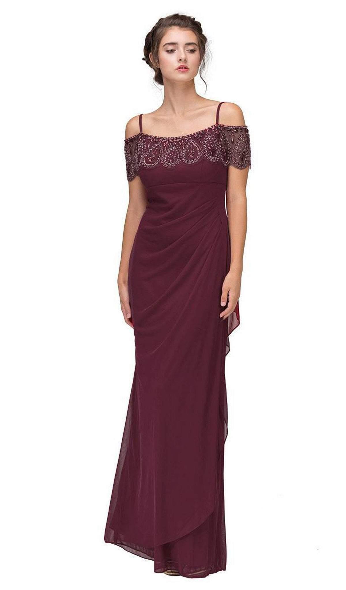 Eureka Fashion - 3937 Beaded Off-Shoulder Chiffon Sheath Dress