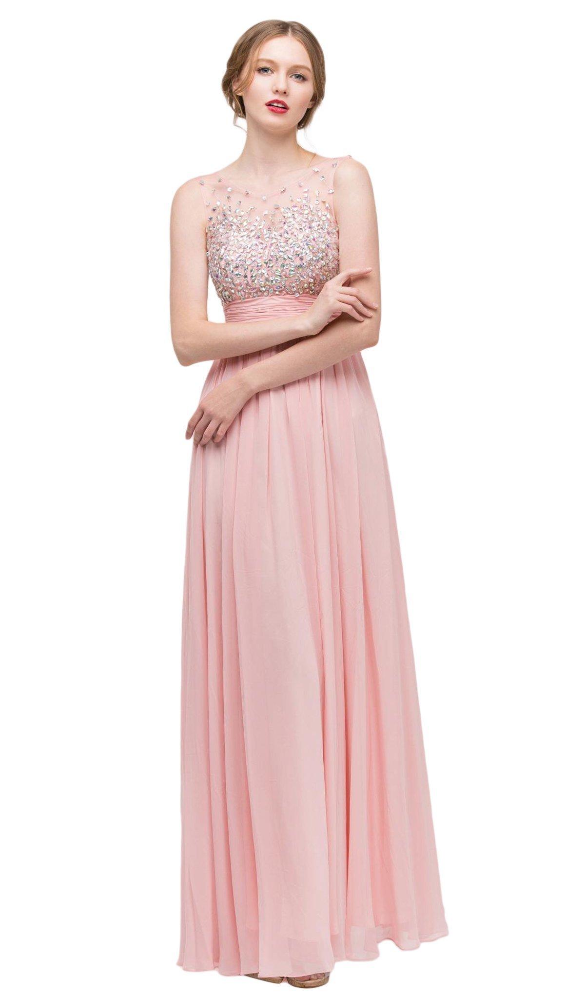 Eureka Fashion - 4001 Bejeweled Illusion Bateau Chiffon A-line Dress
