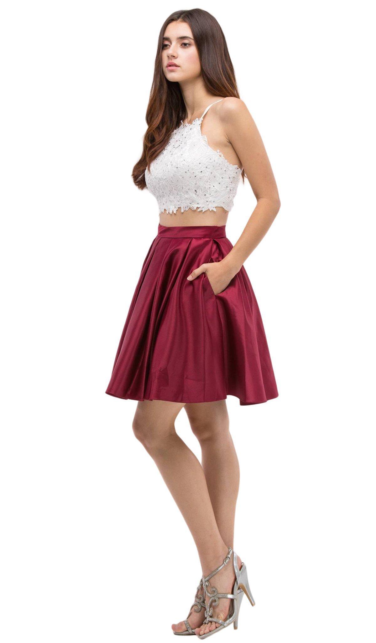 Eureka Fashion - 4300 Two Piece Lace Satin A-line Dress