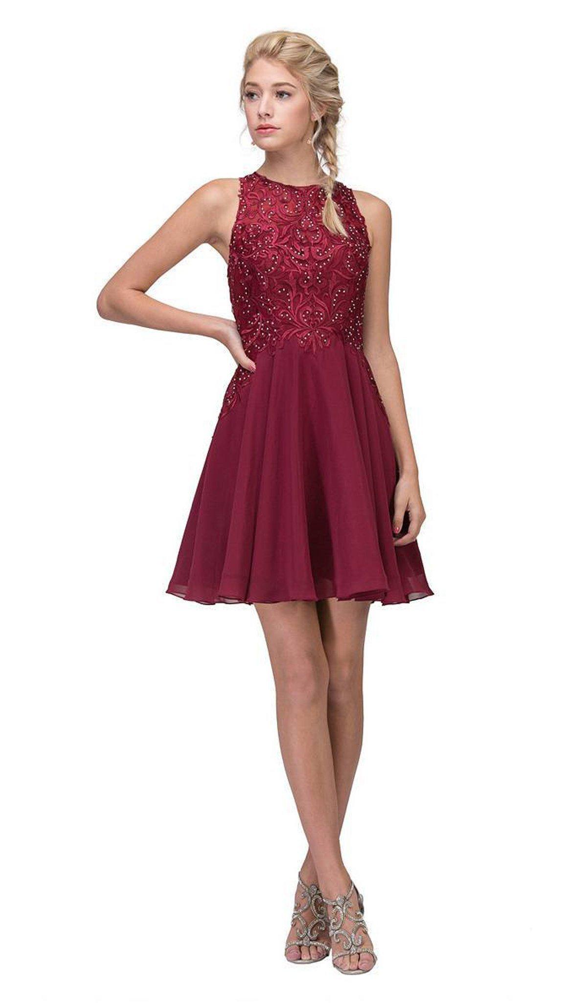 Eureka Fashion - 6025 Lace Halter Chiffon A-line Dress