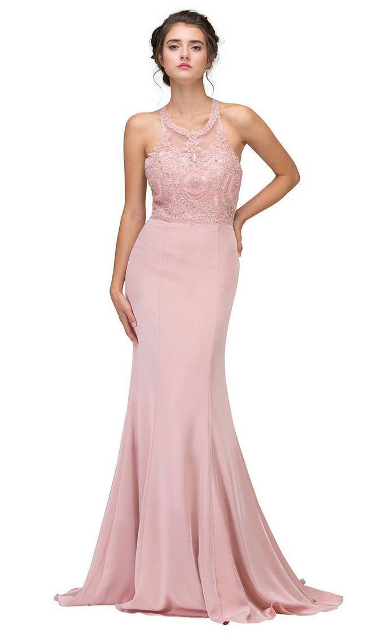 Eureka Fashion - 7133 Applique Halter Stretch Satin Trumpet Dress