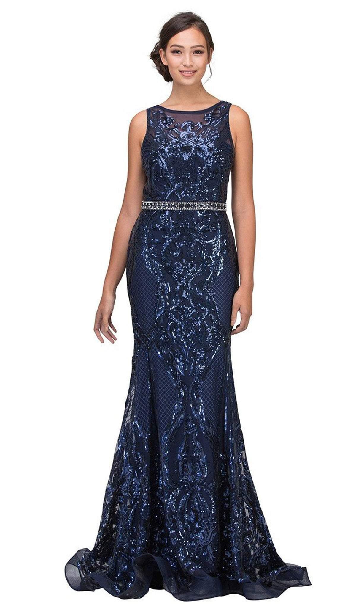 Eureka Fashion - 7335 Sequined Mesh Bateau Mermaid Dress