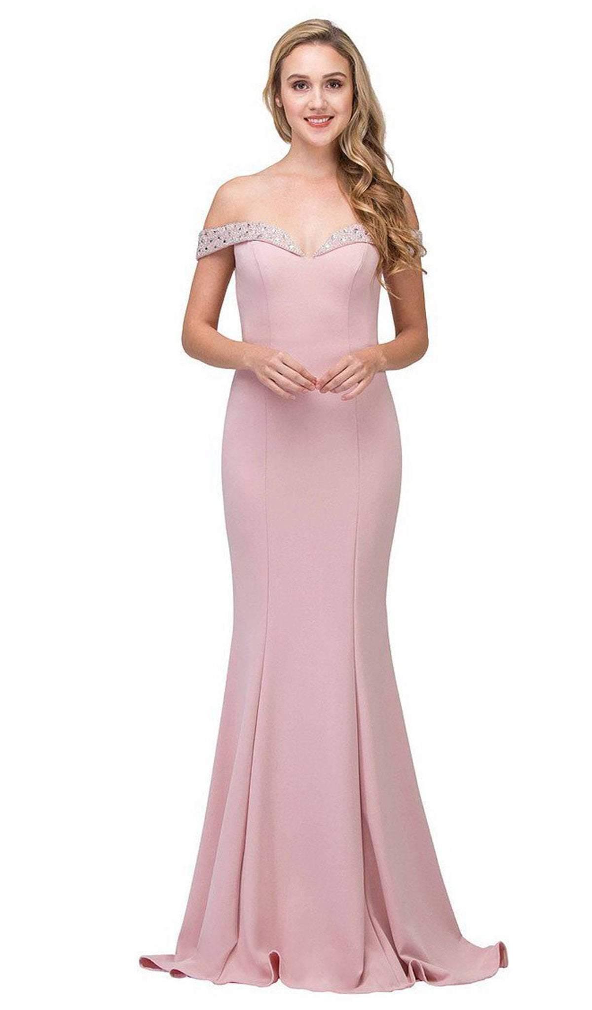 Eureka Fashion - 8100 Embellished Off-Shoulder Mermaid Dress