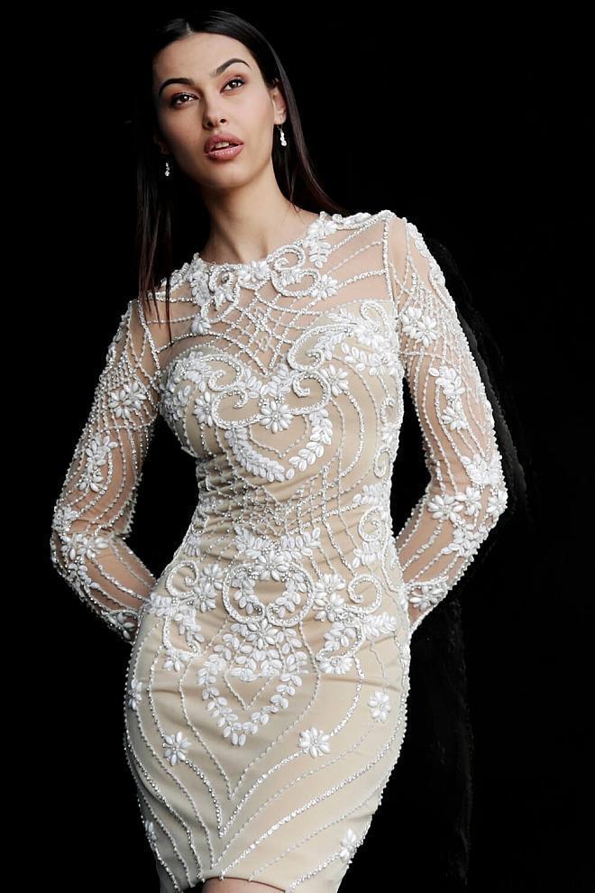 Jovani - 57877 Beaded Tulle Long Sleeve Sheath Dress