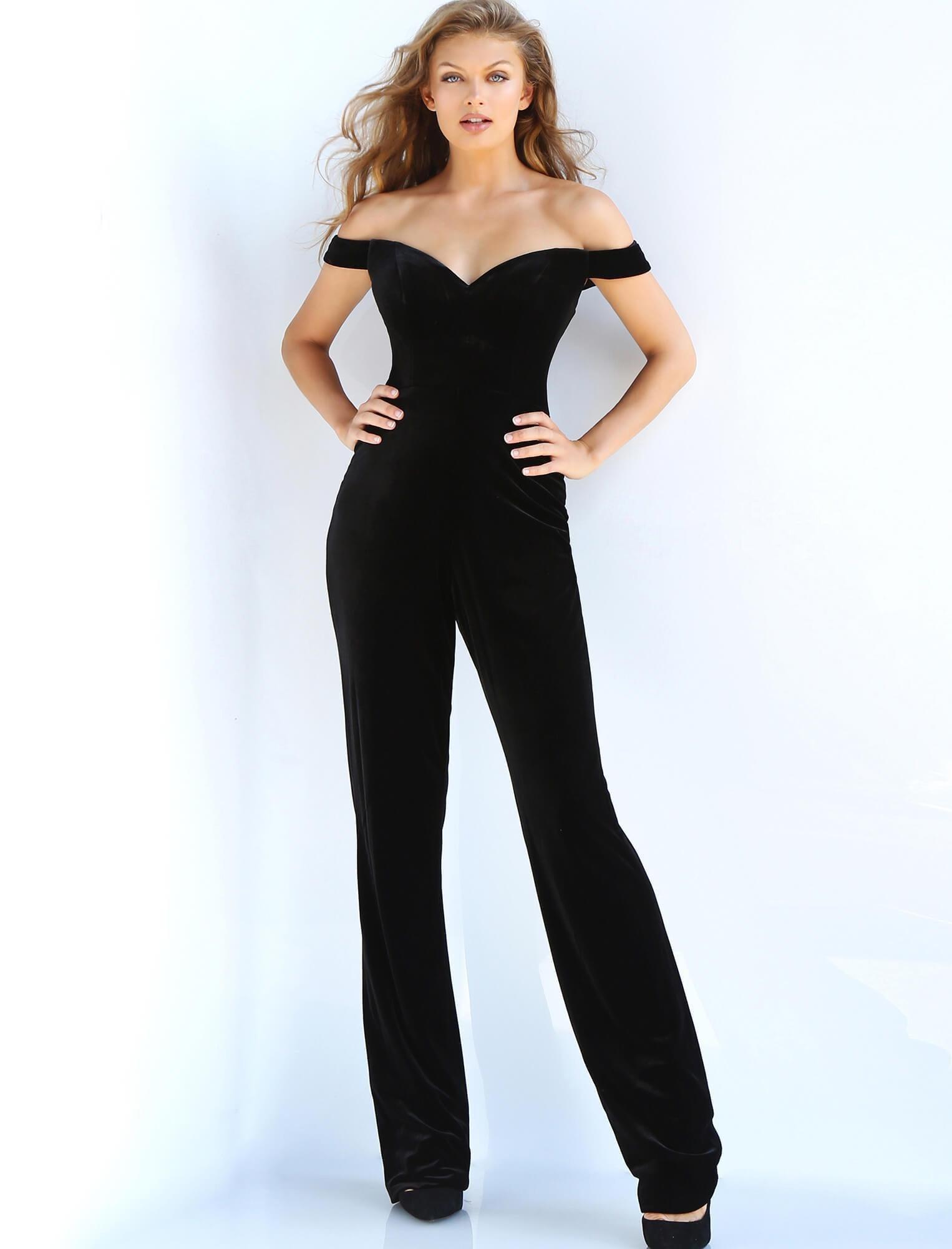 Jovani - 58964 Off Shoulder Velvet Jumpsuit Overskirt Gown