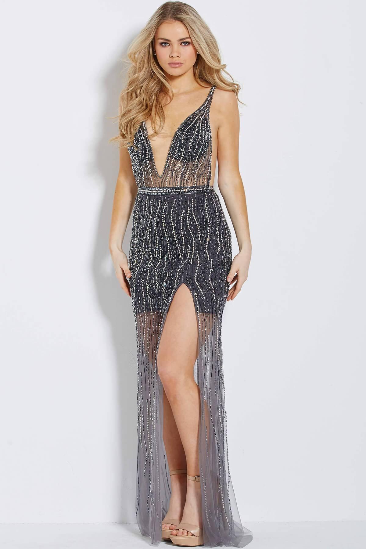 Jovani - 60021 Beaded Plunging V-Illusion Sheath Gown